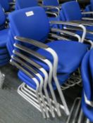 5x Blue Padded Office Chairs.