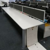 Bank Of Desks Seating 8. Dimensions: 5200x1800x745mm. (LxDxH)