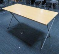 Wooden Top Folding Desk. Dimensions: 1400x600x720mm (LxDxH)