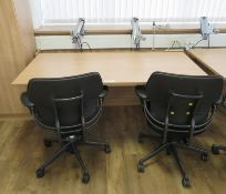 Tiltable Office Table & 2 Humanscale Freedom Office Chairs & Monitor Mounting Arms.