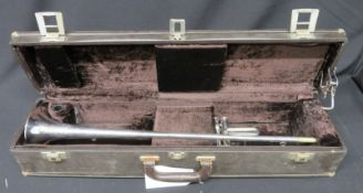 Boosey & Hawkes Imperial Besson fanfare trumpet with case. Serial number: 706-702334.