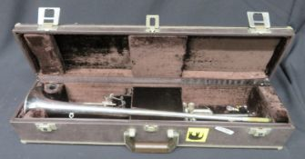 Boosey & Hawkes Imperial fanfare trumpet with case. Serial number: 705-670079.