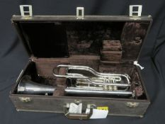 Boosey & Hawkes Besson 700 London tenor fanfare trumpet with case. Serial number: 707-740320.