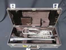 Boosey & Hawkes Besson 700 London tenor fanfare trumpet with case. Serial number: 707-721126.