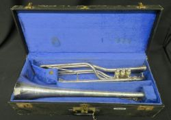 Boosey & Hawkes Imperial Besson bass fanfare trumpet with case. Serial number: 708-670089.