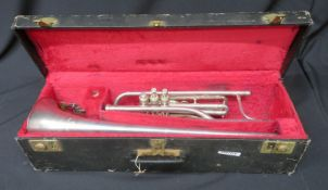 Boosey & Hawkes Imperial tenor fanfare trumpet with case. Serial number: 524098.