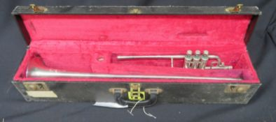Boosey & Hawkes Imperial fanfare trumpet with case. Serial number: 514759.