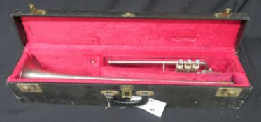 Boosey & Hawkes Imperial fanfare trumpet with case. Serial number: 622077.