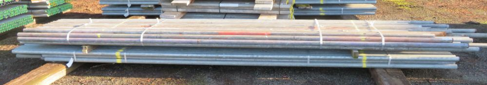100x Various Length Galvanised Steel Scaffolding Poles. Lengths Range Between 16ft - 14ft.
