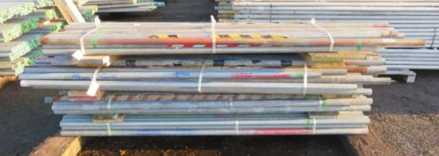 200x Various Length Galvanised Steel Scaffolding Poles. Lengths Range Between 9ft - 8ft.