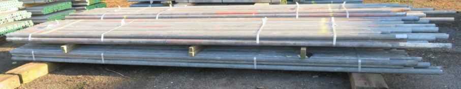 100x Various Length Galvanised Steel Scaffolding Poles. Lengths Range Between 15.5ft - 13ft.