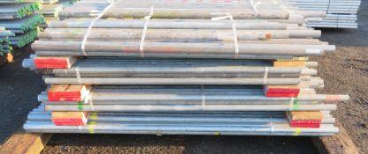 200x Various Length Galvanised Steel Scaffolding Poles. Lengths Range Between 8ft - 5ft.