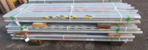 150x Various Length Galvanised Steel Scaffolding Poles. Lengths Range Between 9ft - 7.5ft.