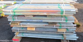 250x Various Length Galvanised Steel Scaffolding Poles. Lengths Range Between 7ft - 5.5ft.