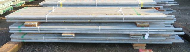 150x Various Length Galvanised Steel Scaffolding Poles. Lengths Range Between 11.5ft - 8ft.