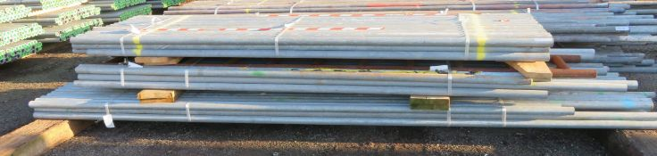 140x Various Length Galvanised Steel Scaffolding Poles. Lengths Range Between 13ft - 10ft.