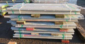 250x Various Length Galvanised Steel Scaffolding Poles. Lengths Range Between 7ft - 5.5ft.