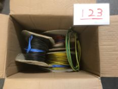 Box of part rolls single core 6mm sq cable