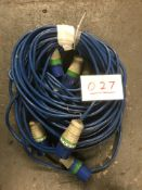 3x 20m arctic blue cable, 32a ends