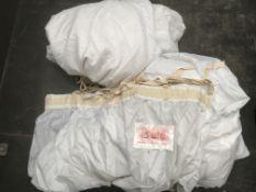3x White Polytaf drapes with fullness