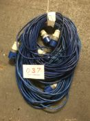 3x 30m arctic blue cable, 16a ends