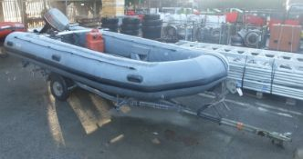Avon W4 65 Inflatable Boat - Grey with Mariner Marathon 30 Engine, Quicksilver gasoline tan