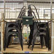 12x Bolero Bistro Steel Side Black Chairs