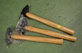 3x Hammers - genuine hickory shaft
