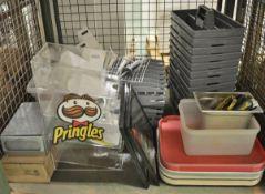 Catering equipment - trays, display unit, paper towel dispenser