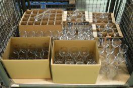 Various glassware - wine glasses, lager glasses