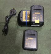 Dewalt DCB105 battery charger and 2 DCB181 batteries