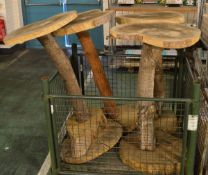4x Solid Wood Bar Tables - Tree effect