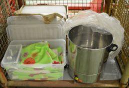 Storage bin lids, wine glasses, Stainless tea urn, table covers, sweet scoops