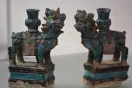 A striking pair of large Chinese glazed terracotta models of kylin (qilin), probably 17th century,