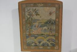 A finely worked needlework panel in late 17th century style, c.1900/1920, in coloured threads