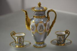 Donath & Co., Dresden, a porcelain coffee pot and pair of cups and saucers en suite, each piece