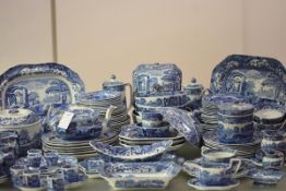 An extensive Spode Blue Italian dinner, breakfast and tea service, 1920's and later including a