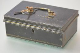 "An early 19th century strong box, the hinged cover inscribed in gilt "".....Flint Glass Works....."