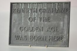 "A bronze commemorative plaque ""Kenneth Grahame of The Golden Age was born here"", c. 1900,"