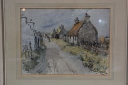 John Bulloch Souter, Scottish 1890-1972, Village Main Street, watercolour, initials lower right,