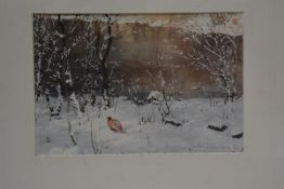 Johnathan Sainsbury (b. 1951), Pheasants in Snow, watercolour, signed and dated lower right, Malcolm