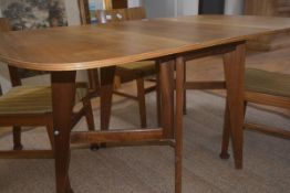 A 'Cumbrae' teak folding dining table by Morris of Glasgow, on splayed rectangular legs, 74cm x 88cm