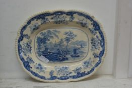 A 19thc Staffordshire blue and white ashet, marked Chinese Marine Opaque China