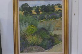 20thc British School, Country Garden, oil on board, initialled lower right, 60.5cm x 48.5cm