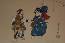 20thc woodblock print of a musician and a thespian, signature lower right, 20cm x 30cm