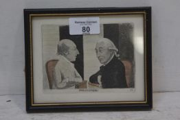 John Kay, Doctor Black and Doctor Hutton, Philosophers, late 18thc coloured print, 12.5cm x 16cm