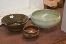 A Carolina M. Valvona large green glazed bowl, together with two brown bowls (3)
