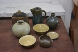 Carolina M. Valvona, a mixed lot of studio pottery including jugs, vases, bottle and stopper etc (