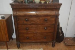 A 19thc mahogany scotch chest, the plain rectangular top with two plain curved fronted frieze