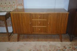A vintage teak sideboard 'Cumbrae Furniture' by Morris of Glasgow, with plain top with moulded beech